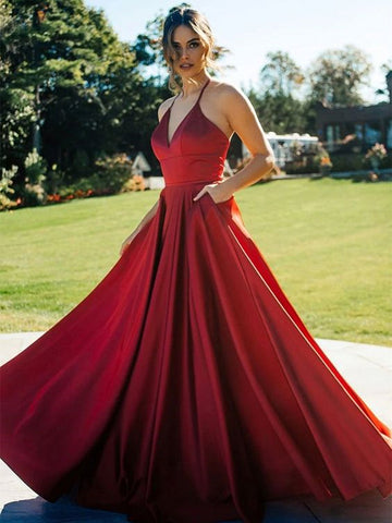 Burgundy V Neck Long Prom Dresses, V Neck Wine Red Long Formal Evening Dresses