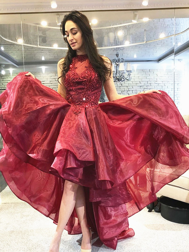 Burgundy High Low Lace Prom Dresses, Wine Red High Low Lace Formal Evening Dresses