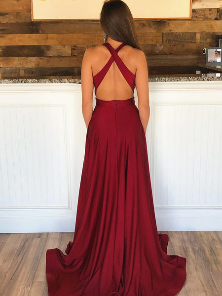 Burgundy V Neck Backless Prom Dresses with Train, Wine Red Backless V Neck Formal Evening Dresses
