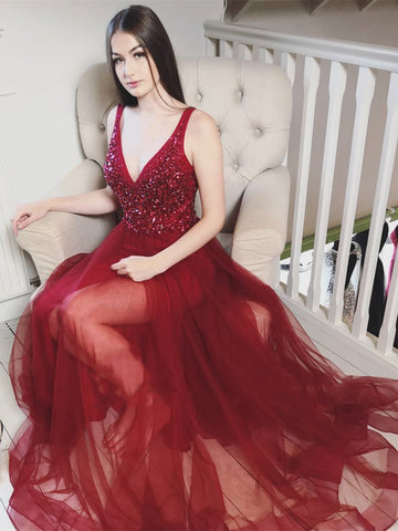 Burgundy V Neck Long Beaded Prom Dresses, Wine Red Long Formal Evening Dresses
