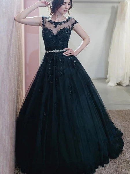 Cap Sleeves Dark Navy Blue Lace Prom Dresses, Dark Navy Blue Lace Formal Evening Dresses
