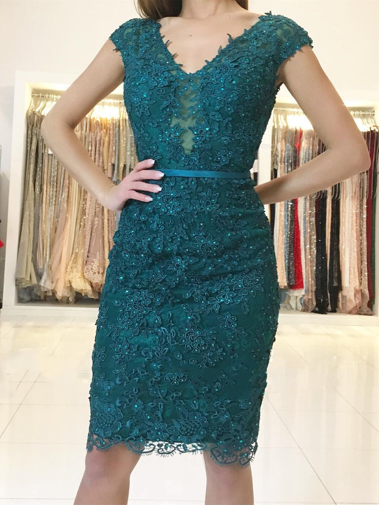 Cap Sleeves Short Emerald Green Lace Prom Dresses, Short Green Lace Graduation Homecoming Formal Dresses