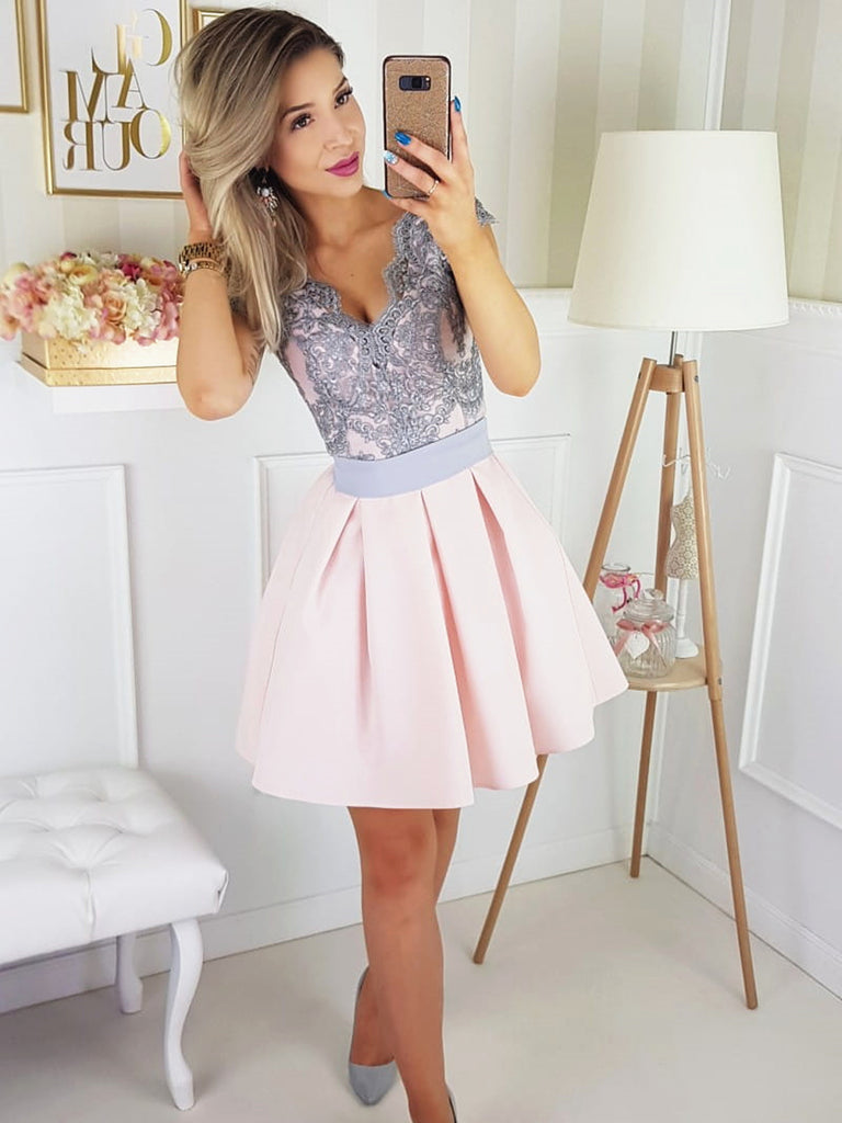 Cap Sleeves Short Pink Prom Dress with Gray Lace, Short Pink Lace Formal Graduation Homecoming Dresses