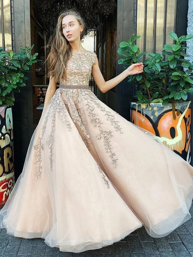 Champagne Backless Lace Wedding Dresses, Open Back Champagne Prom Formal Dresses