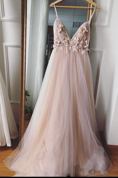 Champagne V Neck Tulle Floral Wedding Dresses, Champagne V Neck Tulle Prom Dresses Graduation Formal Dresses