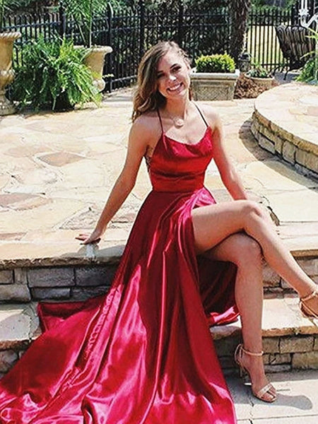 Cross Back Burgundy Long Prom Dresses, Backless Burgundy Long Formal Evening Dresses