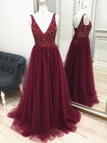 Custom Made A Line V Neck Beaded Burgundy Prom Dresses, Wine Red Beaded Formal Evening Dresses