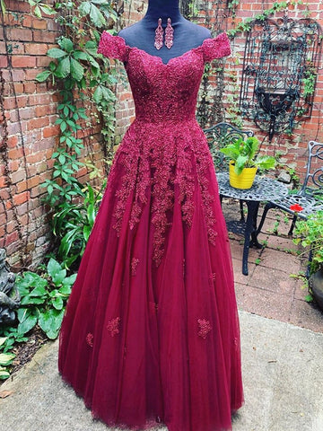 Custom Made Off Shoulder Burgundy Lace Prom Dresses, Off the Shoulder Burgundy Lace Formal Bridesmaid Dresses