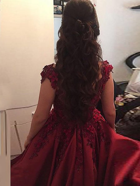 Custom Made Off Shoulder Lace Prom Gown, Burgundy/Green Lace Prom Dresses, Formal Dresses