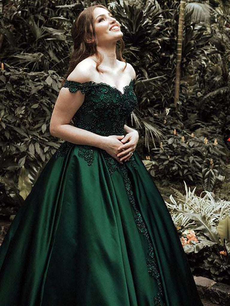 Dark Green Off Shoulder Lace Prom Gown Off Shoulder Lace Formal