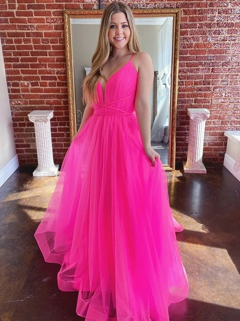 Deep V Neck Backless Hot Pink Long Prom Dresses, Open Back Hot Pink Long Formal Evening Dresses