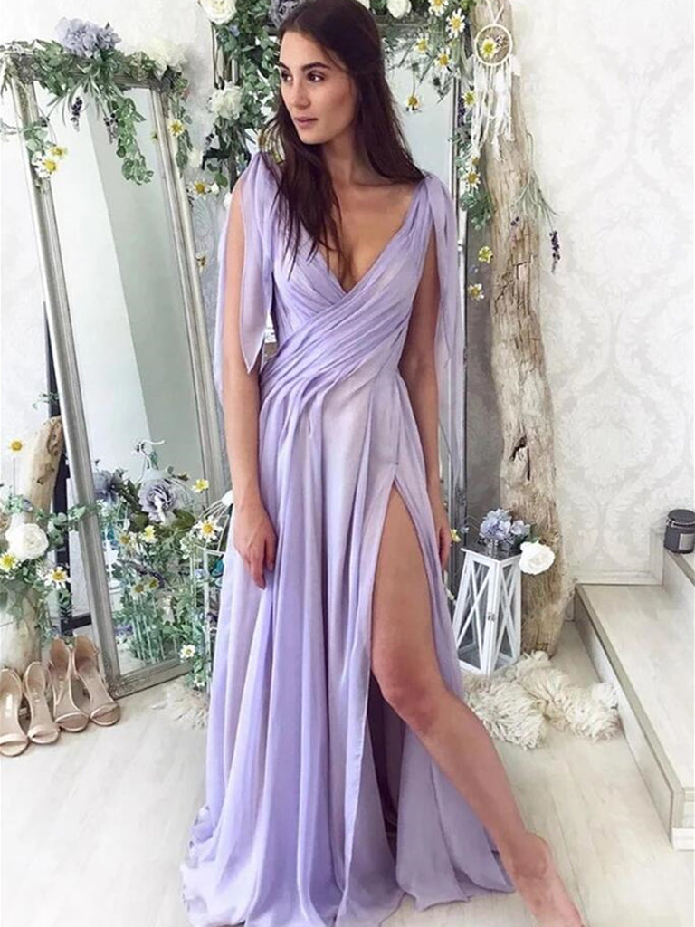 Deep V Neck Purple Chiffon Long Prom Dresses, Purple V Neck Long Formal Evening Dresses