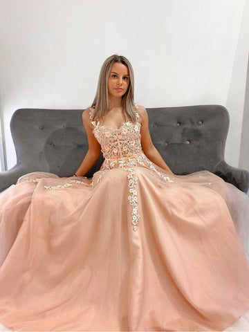 Double Straps Champagne Lace Prom Dresses, Champagne Lace Formal Bridesmaid Dresses