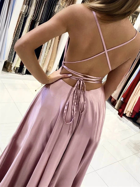 Dusty Pink Backless Long Prom Dresses, Dusty Pink Open Back Long Formal Evening Dresses