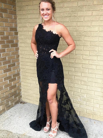 Elegant One Shoulder Black Lace Prom Dresses, One Shoulder Long Black Lace Formal Evening Dresses