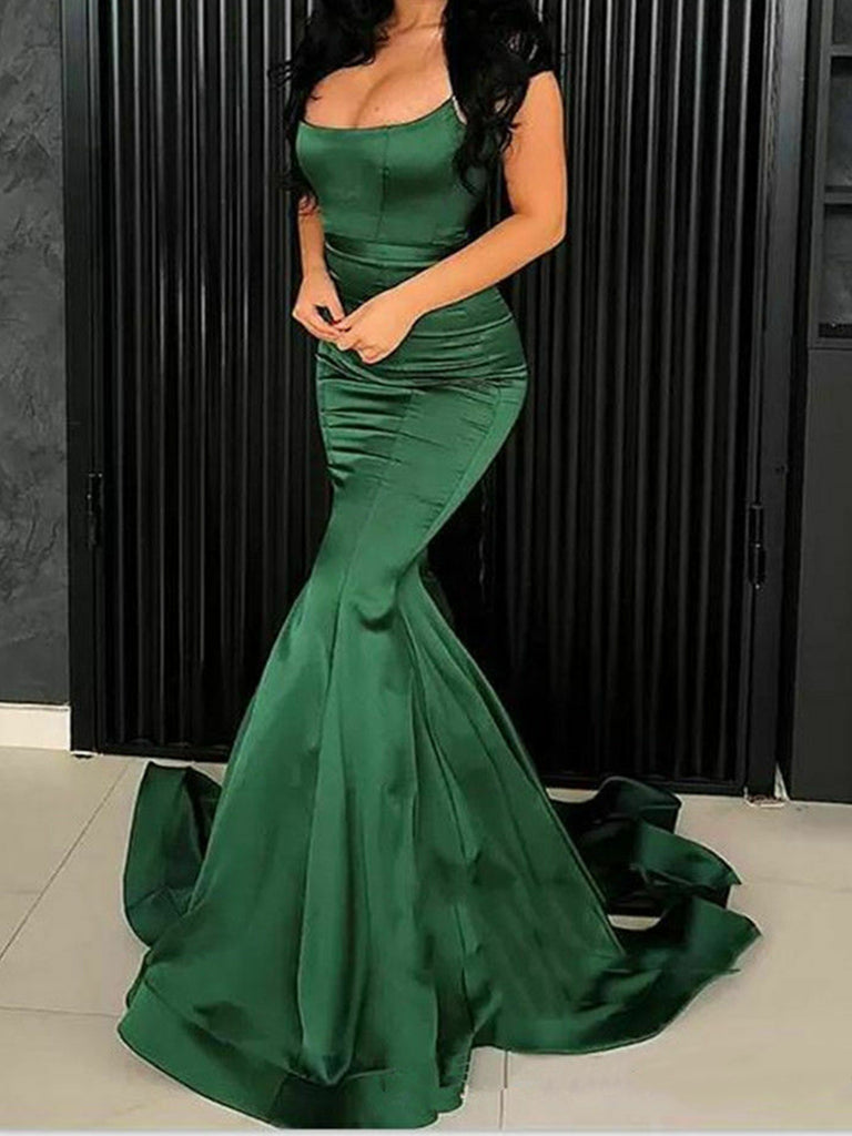 Emerald Green Mermaid Long Prom Dresses, Dark Green Mermaid Long Formal Evening Dresses