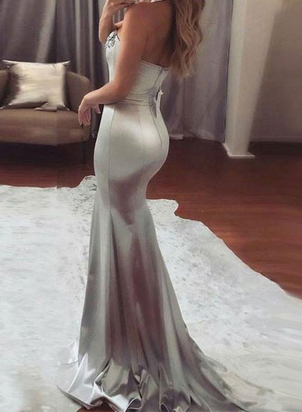 Silver Grey Sweetheart Neck Mermaid Prom Dress, Gray Mermaid Formal Dress