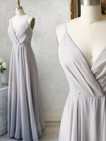Gray V Neck Chiffon Long Prom Dresses, Gray V Neck Long Formal Bridesmaid Dresses