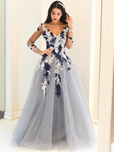 Gray Long Sleeves Long Lace Prom Dresses, Long Sleeves Lace Formal Graduation Evening Dresses