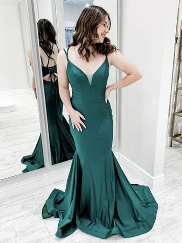 Green Mermaid Backless Long Prom Dresses, Green Mermaid Long Formal Evening Dresses