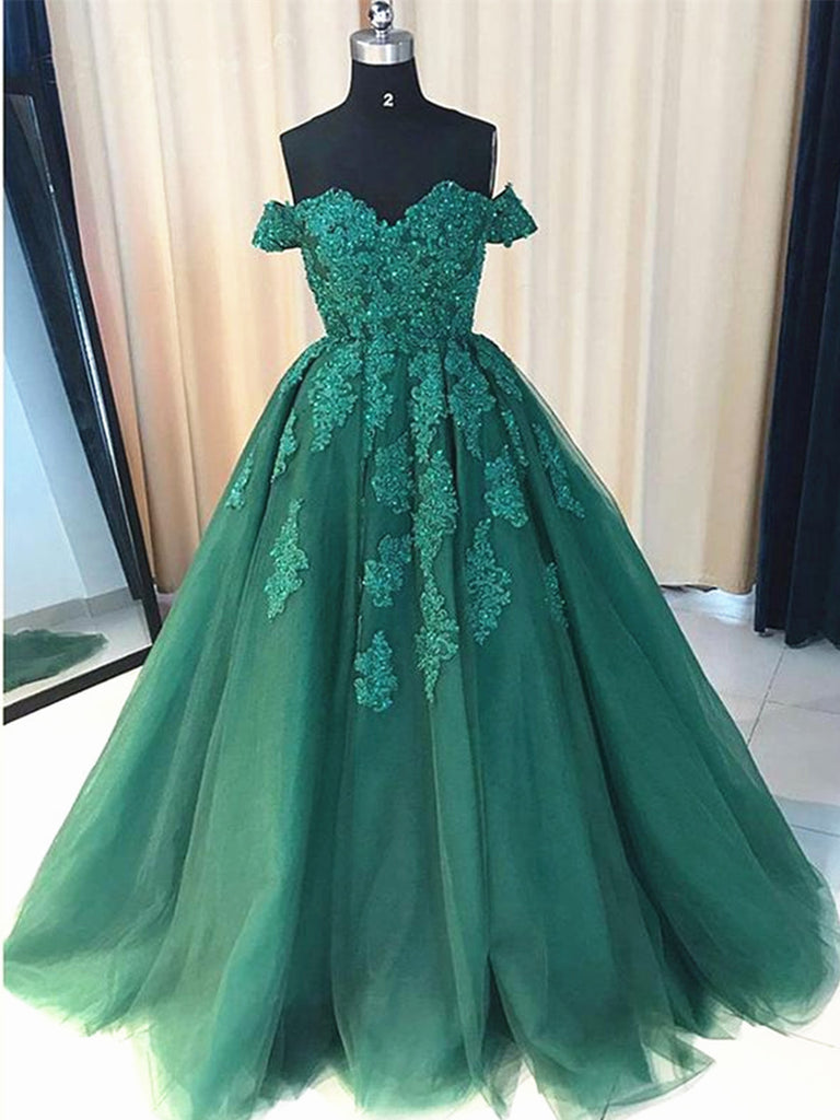 Custom Made Off Shoulder Emerald Green Lace Prom Dresses, Green Formal Dresses, Lace Prom Gown