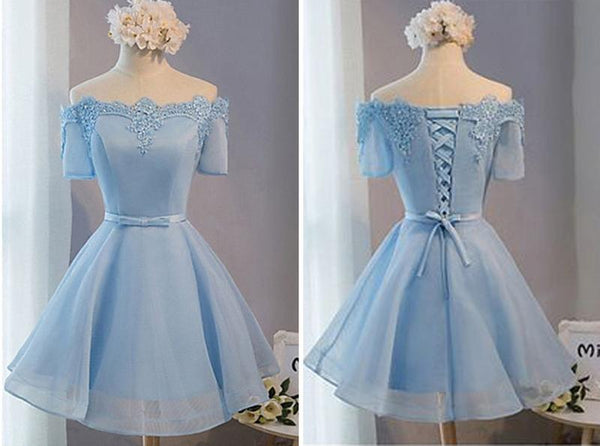 A Line Sky Blue Short Lace Prom Dresses, Sky Blue Graduation Dresses, Lace Homecoming Dresses
