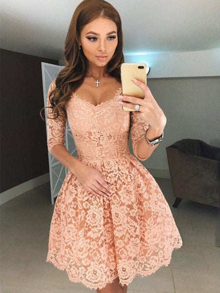 Half Sleeves Short Champagne Lace Prom Dresses, Short Champagne Lace Formal Homecoming Dresses