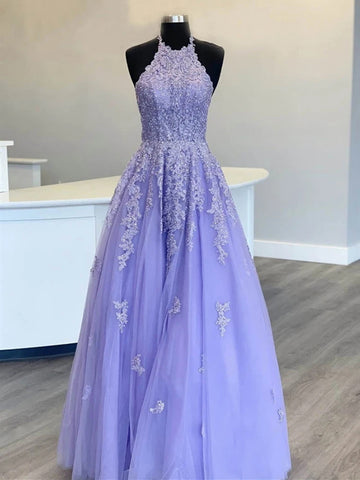 Halter Neck Purple Long Lace Prom Dresses, Halter Neck Purple Lace Formal Evening Dresses