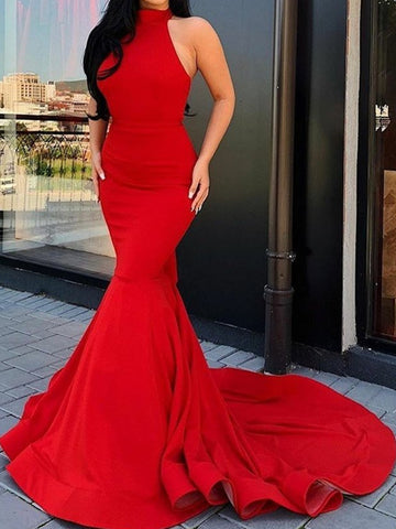 Halter Neck Red Mermaid Long Prom Dresses, Red Mermaid Long Formal Evening Dresses