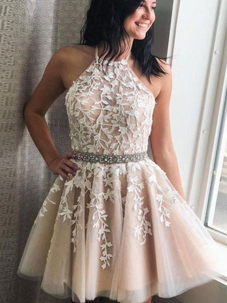 Halter Neck Short Champagne Lace Prom Dresses, Short Champagne Lace Formal Homecoming Dresses