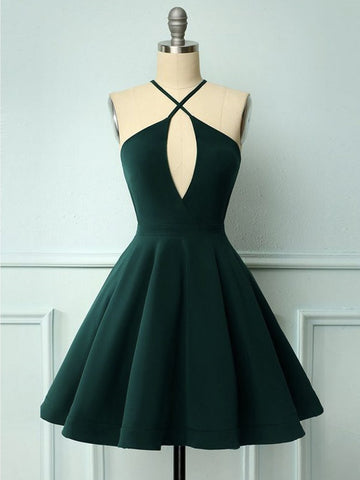 Halter Neck Short Dark Green Prom Dresses, Short Dark Green Formal Graduation Homecoming Dresses
