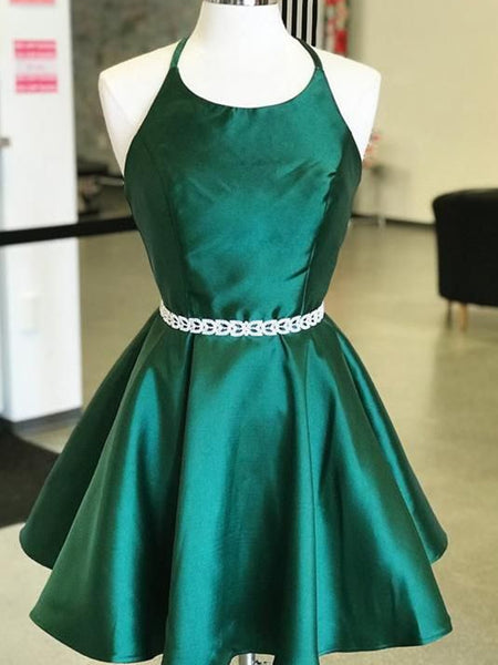 Halter Neck Short Emerald Green Prom Dresses, Short Green Formal Homecoming Graduation Dresses