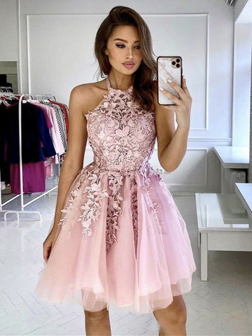 Halter Neck Short Lace Prom Dresses, Short Lace Formal Homecoming Graduation Dresses-Pink