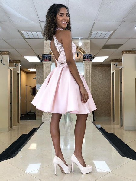 Halter Neck Short Pink Lace Prom Dresses, Short Pink Lace Formal Homecoming Dresses