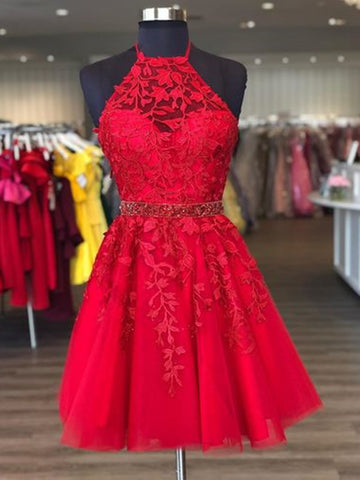 Halter Neck Short Red Lace Prom Dresses, Short Red Lace Formal Homecoming Dresses