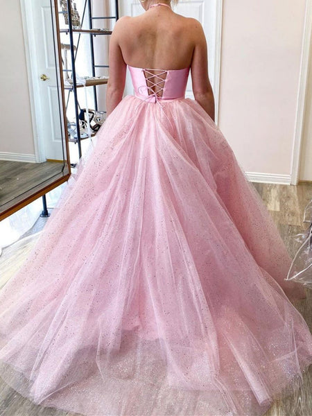 Halter Neck Two Pieces Pink Long Prom Dresses, Shiny 2 Pieces Pink Long Formal Evening Dresses