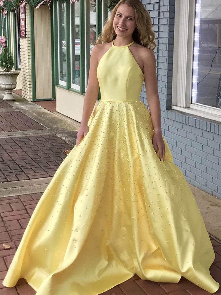 Halter Neck Yellow Satin Beaded Long Prom Dresses, Yellow Halter Neck Long Formal Evening Dresses