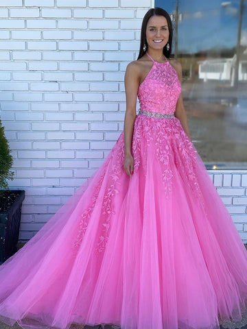 Halter Neck Pink Lace Prom Dresses with Train, Pink Long Lace Formal Evening Dresses