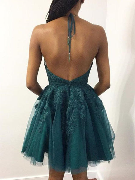 Halter Neck Short Emerald Green Lace Prom Dresses, Short Green Lace Graduation Homecoming Dresses
