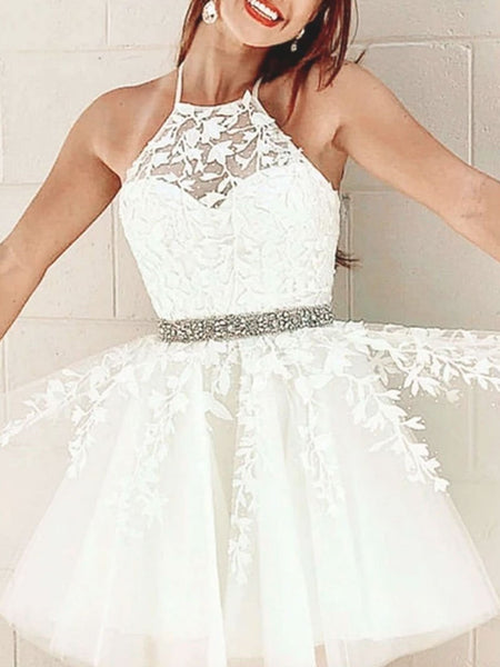 Halter Neck Short Yellow White Lace Prom Dresses, Short Lace Formal Homecoming Dresses