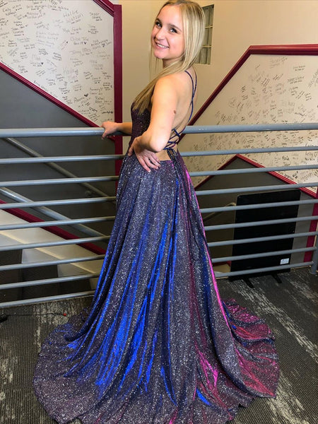 Hot Selling Shiny Backless Navy Blue Long Prom Dresses, Navy Blue Long Formal Evening Dresses