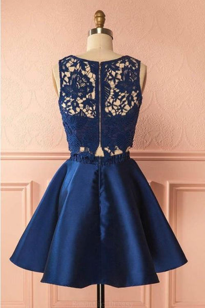 A Line Round Neck Dark Blue 2 Pieces Lace Prom Dresses, Dark Blue 2 Pieces Formal Dresses, Lace Homecoming Dresses
