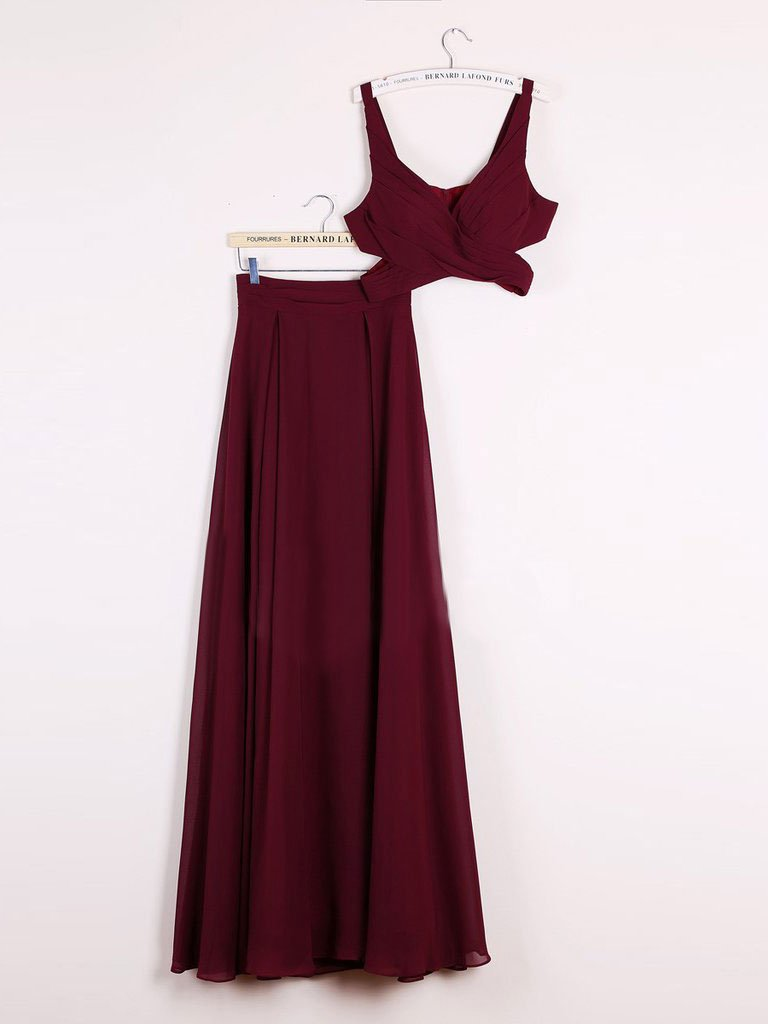 A Line 2 Pieces Floor Length Burgundy Chiffon Prom Dress, 2 Pieces Burgundy Formal Dresses, Bridesmaid Dresses