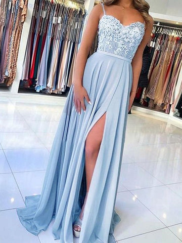 Light Blue Long Lace Prom Dresses, Sky Blue Lace Formal Evening Dresses