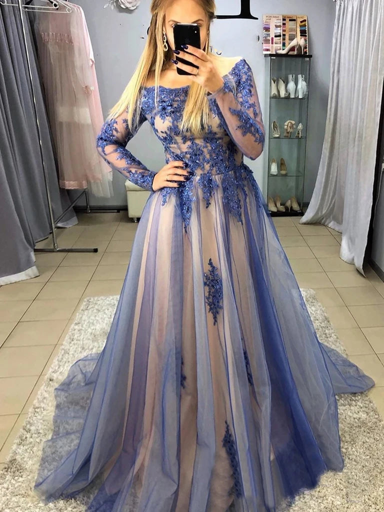 Long Sleeves Blue Lace Prom Dresses, Long Sleeves Blue Lace Formal Evening Dresses