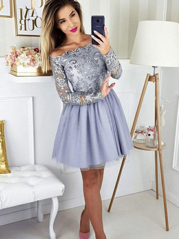 Long Sleeves Short Gray Lace Prom Dresses, Short Gray Lace Formal Graduation Homecoming Dresses