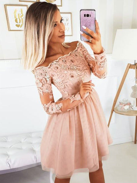 Long Sleeves Short Pink Lace Prom Dresses, Short Pink Lace Formal Homecoming Dresses