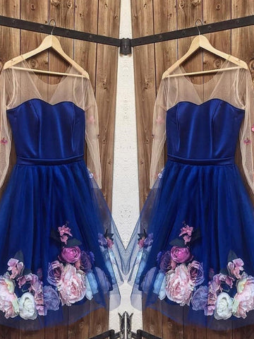 Long Sleeves 3D Floral Short Navy Blue Prom Dresses, Short Blue Formal Graduation Homecoming Dresses