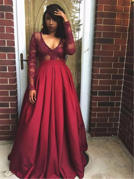 Long Sleeves Burgundy Lace Prom Dresses, Long Sleeves Wine Red V Neck Formal Evening Dresses