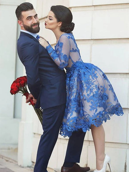 Long Sleeves Knee Length Short Blue Lace Prom Dresses, Knee Length Long Sleeves Blue Lace Formal Homecoming Dresses